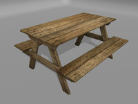 3d picnic table model