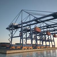 3d port crane container