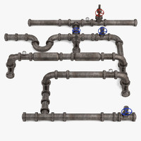industrial pipes scene 3d model