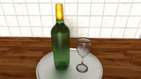 3d model wine bottle