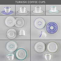 coffee cups turkish 3d model