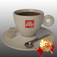 3d cup coffee illy model