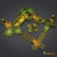 3d model dungeon cloudy set