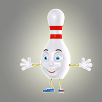 cartoon bowling pin 3d model