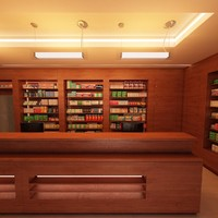 3d model pharmacy shop 1 day