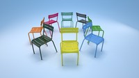 classical luxembourg metal chair 3d 3ds