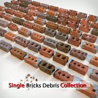 3d model brick debris v-ray