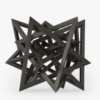 3d wood star maquette