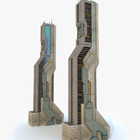 sci fi futuristic building 3d obj