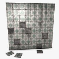 old tiles wall 3d obj