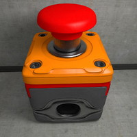 3d red emergency switch
