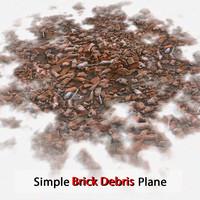 Brick Simple Debris Plane Stone Debris Pile Detailed V ray v-ray Vray detail red dirty old dirt soil
