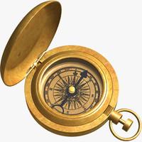3dsmax solid brass compass
