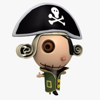 pirate cartoon character 3d model