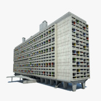 le corbusier habitation marseille 3d model
