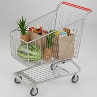 shopping cart food 3d max