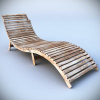 beach deck chair sunbed 3d model