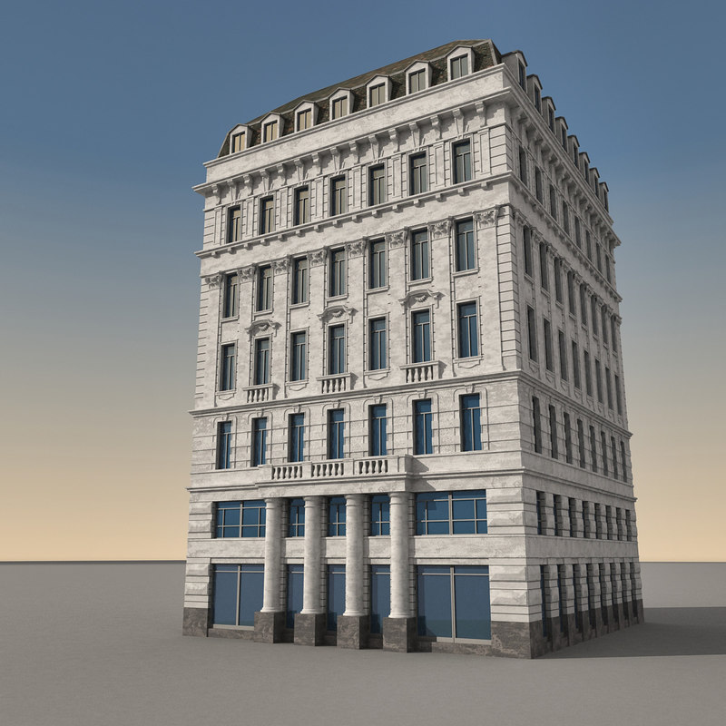 3d Model House Building Residential: European Europe Building 3d Model
