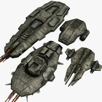 4 space cruisers 3d max