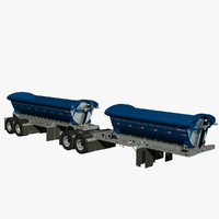 3d model trailers b-train midland tw2500