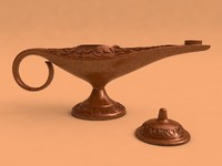antique oil lamp c4d
