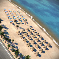 beach parasols sunbeds 3d model