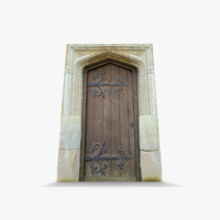 3d old wooden door stone arch model