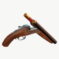 sawed-off shotgun 3d fbx