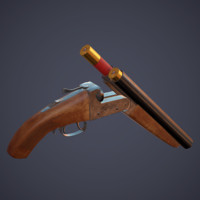 sawed-off shotgun 3d model