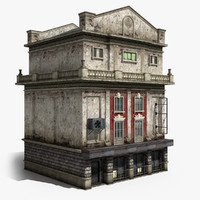 3d neoclassical 4-storey house model