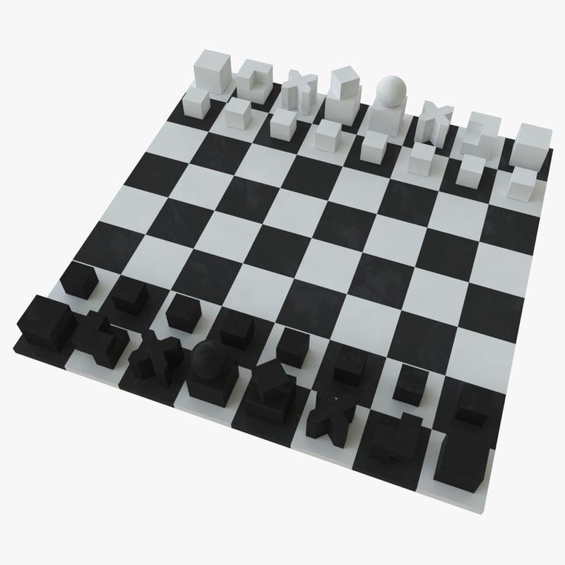 Free chess bauhaus 3d model - Bauhaus chess board ...