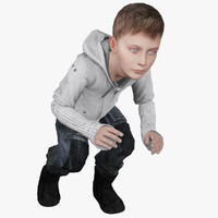 3d model of young boy character human