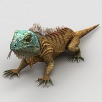 3d iguana lizard model
