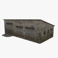 farm garage rural industrial building 3d blend