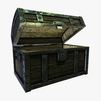 3d obj sturdy wooded treasure chest