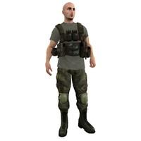 3dsmax mercenary rigged soldier