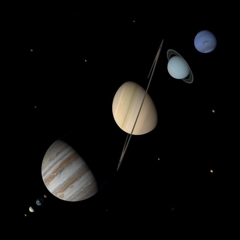 3d model photorealistic planets solar moons