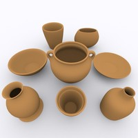 3d model pottery decorations glass