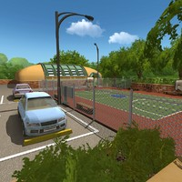 3d model outdoor basketball court