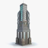 sci fi futuristic building obj