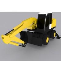 wheel excavator a900 3d 3ds