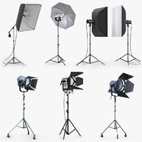 3d studio lighting softbox model