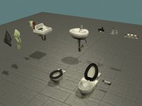 bathroom set toilets soap 3d 3ds