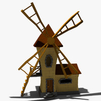 3d model of cartoon windmill