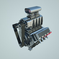 v8 compressor engine c4d
