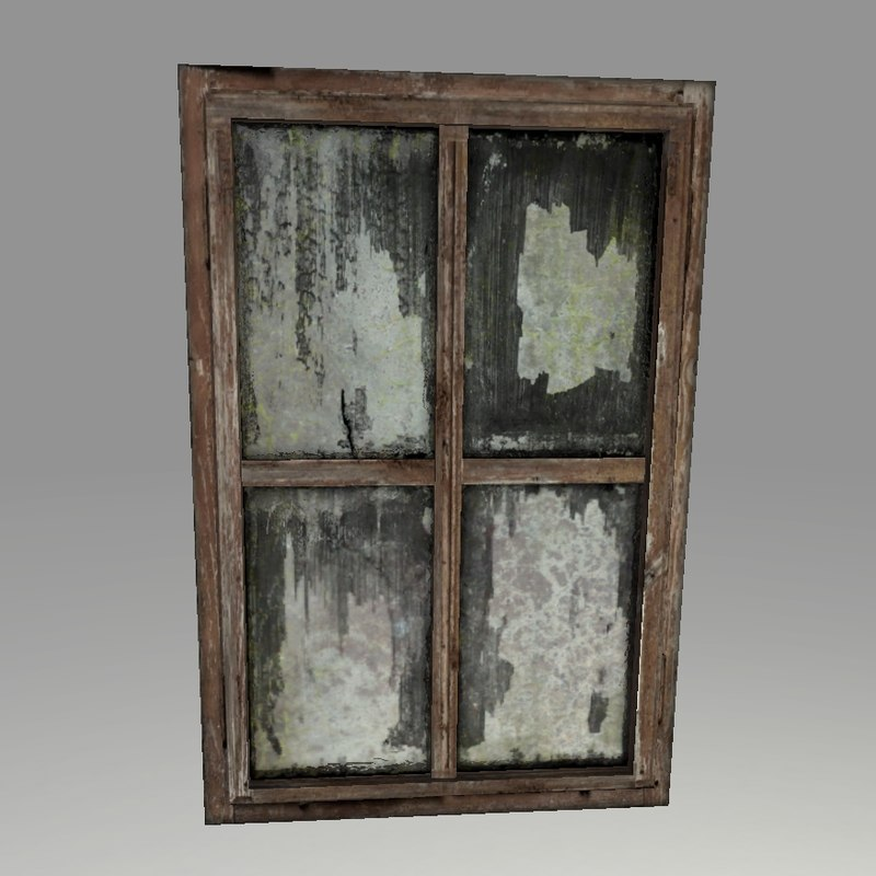 Highpoly old wooden window 3d model for Window 3d model
