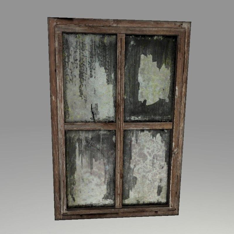 Highpoly old wooden window 3d model for Window 3d model