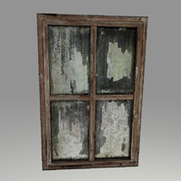 highpoly old wooden window 3d model