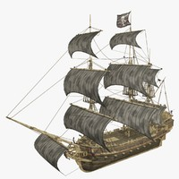 pirate ship 3d c4d