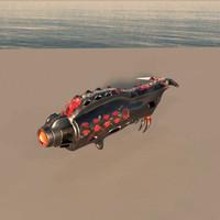 organic sci-fi gun 3d obj